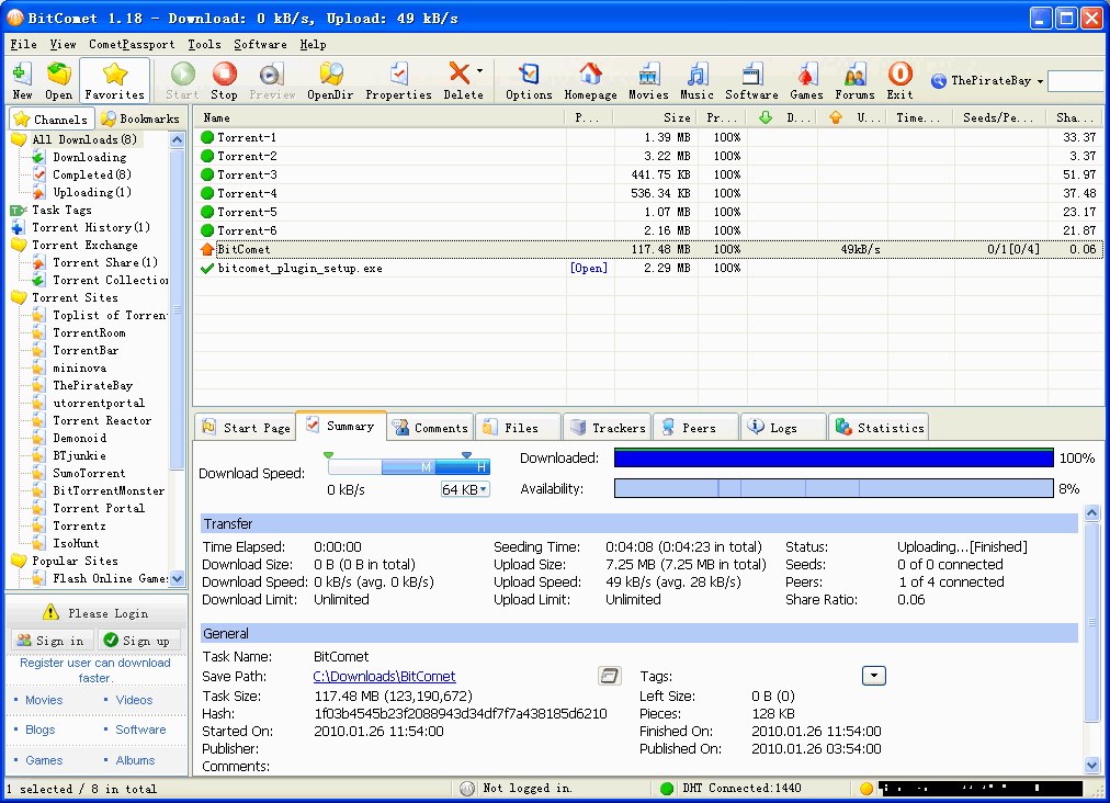 BitComet freeware screenshot
